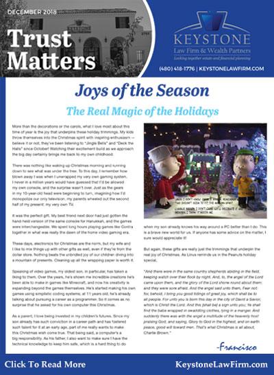 December 2018 - Joys of the Season Keystone Law Firm