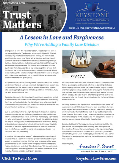November 2018 - A Lesson in Love and Forgiveness Keystone Law Firm
