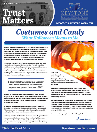 October 2018 - Costumes and Candy by Keystone Law Firm