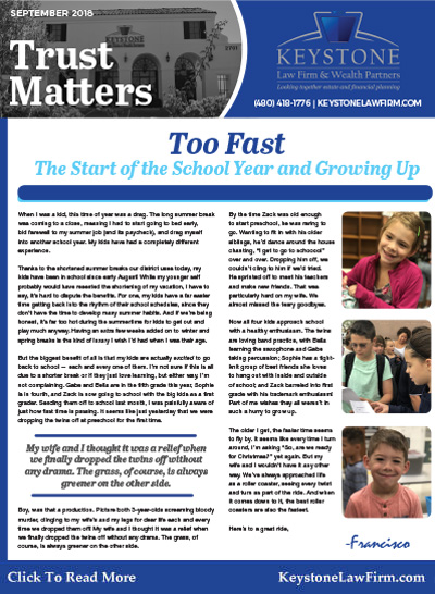 September 2018 Trust Matters Newsletter