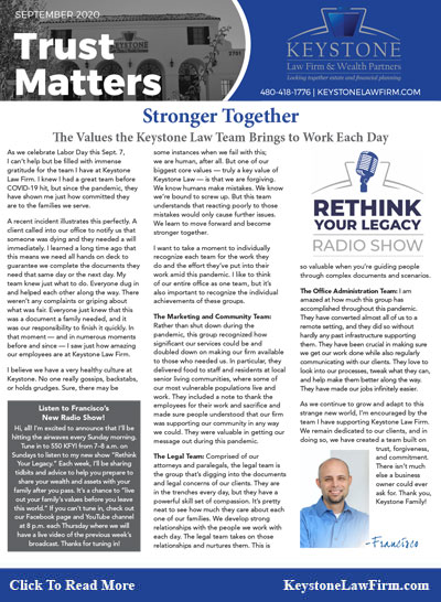 Stronger Together - Keystone Law Firm Arizona Newsletters