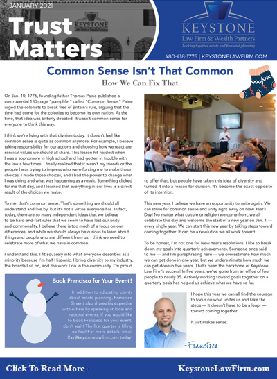 Common Sense Isn't That Common - Keystone Law Firm Arizona Newsletters