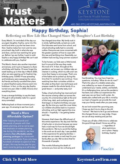 Happy Birthday, Sophia! - Keystone Law Firm Arizona Newsletters